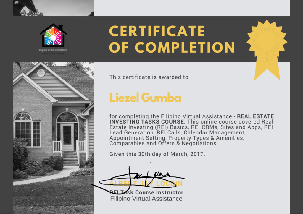 Real Estate Investing Task Course Certificate